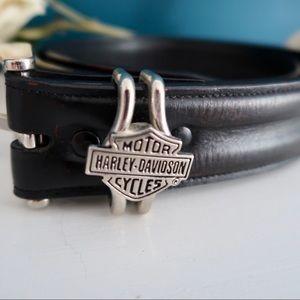 Black Leather Harley Davidson Belt